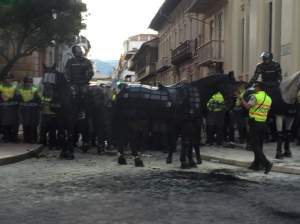 Armoured horses and police blocked protestors from the square